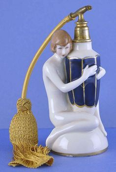 Circa 1930s, Austrian / Czechoslovakian, Royal Dux, Porcelain, Figural, Naked Lady, Atomizer Perfume / Scent Bottle
