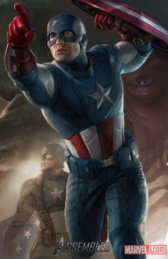 I love this concept art for the Avengers that shows the difference between Captain America's suits