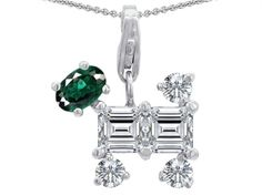 Star K Dog Pendant Necklace With Simulated Emerald
