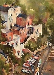 "Amalfi Coast by Jinnie May Watercolor ~ 30"" x 22"""