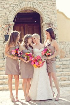 Bridesmaid Dresses: Beige, Tan and Neutral, Bride Ideas