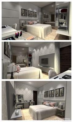 Proposta de quarto para uma jovem universitária, num conceito clássico romântico.