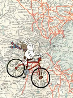 Boston Map Bicycle Bunnies Art Print by SepiaLepus on Etsy, $19.00
