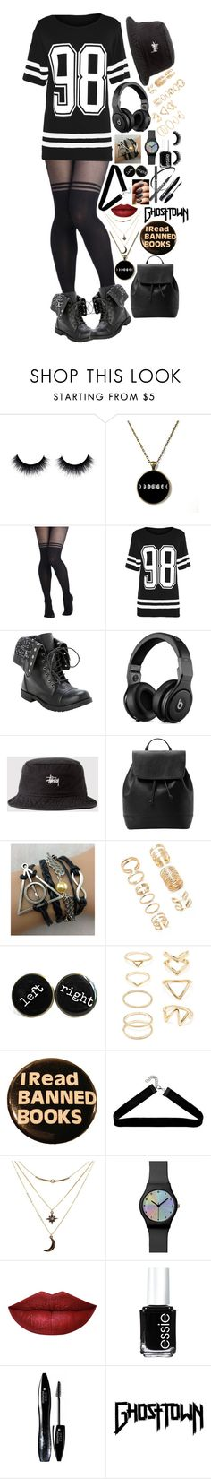 """98th Ghosttown"" by crazzyko ❤ liked on Polyvore featuring Stussy, MANGO, Forever 21, Charlotte Russe, Essie, Lancôme, women's clothing, women, female and woman"