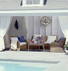Bright and White < 30 Dreamy Poolside Spaces - MyHomeIdeas.com