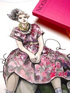 Jessica Stamp in Prada, illustration by Kathryn Elyse