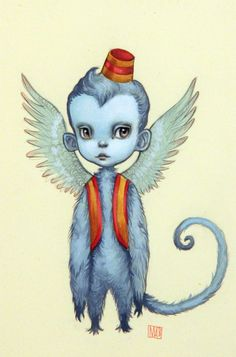 Mab Graves - Artwork - The Flying Monkey - Nucleus Ghibli, Dorothy Wizard Of Oz, Wizard Wizard, Big Eyes Artist, Monkey Tattoos, Flying Monkey, Lowbrow Art, Pop Surrealism, Unique Art