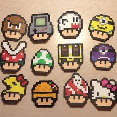 Mushrooms perler beads by awesomeangela13