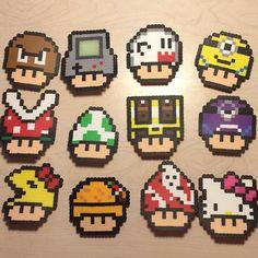 Mushrooms perler beads by awesomeangela13