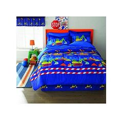 Kids Blue Construction Comforter Sheets Twin Set Playful Fun Builders Pattern Featuirng Dump Truck Tractors Excavator Friendly Printing Bedding Bed