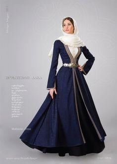 Georgian national costume. Elegant deep blue dress. Surcoat? Very flattering design.