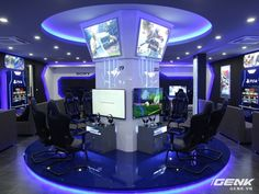 PlayStation Game Zone - Everything About Playstation Game Room Design, Lounge Design, Club Design, Teen Game Rooms, Video Game Rooms, Gaming Lounge, Gaming Room Setup, Lan House, Cafe Business Plan