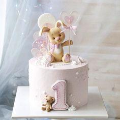 First birthday girly bunny cake Girly Birthday Cakes, 1st Birthday Cake For Girls, Cake Designs For Kids, Charlotte Cake, Mini Tortillas, Rabbit Cake, Baby Girl Cakes, Cute Cakes, Fondant Cakes