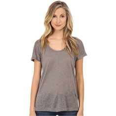 C&C California Linen Jersey Roll Sleeve Tee Women's T Shirt, Gray ($58) ❤ liked on Polyvore