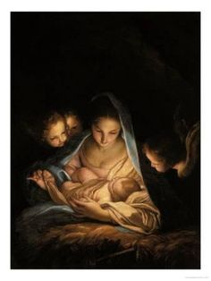 Madonna Painting - Holy Night by Carlo Maratta A Child Is Born, Mother And Child, Catholic Art, Religious Art, Mama Mary, Blessed Mother Mary, Divine Mother, Mary And Jesus, Madonna And Child