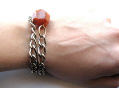 Silver Chain Bracelet with Bright Red Stone by HomeGrownIllinois, $13.00
