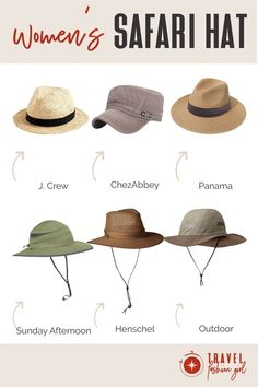 Safari hats are a great all around option for a trip across the savannah or a hike through a national park. Our readers give you their top recommendations of comfy (and stylish) headwear to choose from! Click through to see more about! #TravelFashionGirl #TravelFashion #TravelAccessories #safariclothing #safarifashion #safarihats Booney Hat, Round The World Trip, Safari Hat, Cotton Hat, Backpacking Gear, What To Pack, Travel Accessories, Hats For Women