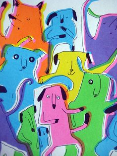 Dogs illustration, colourful neon, rainbow screen print of fun, dancing, party dogs titled 'Dog Rave'. Ltd Edition. UK seller  emilymackenzie