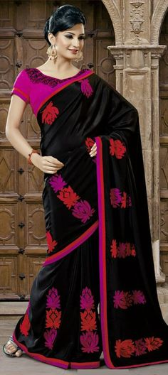 121250, Party Wear Sarees, Georgette, Machine Embroidery, Black and Grey Color Family