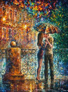 "Kiss Under Umbrella — ORIGINAL Contemporary Home Wall Art Decor Oil Painting On Canvas By Leonid Afremov - Size: 42"" x 57"" (105 cm x 145 cm)"