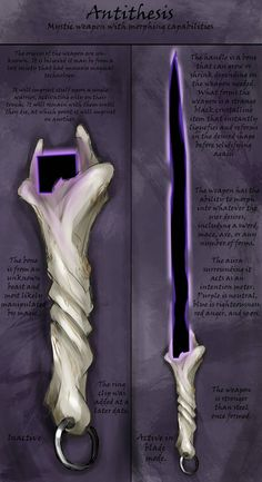 Clearly a attempt at making a fantasy lightsaber. nice execution though. maybe a weapon to be carried by a wizard or a warlock. Weapon Design: Antithesis by Sathiest-Emperor Fantasy Magic, Fantasy Sword, Fantasy Weapons, Dark Fantasy, Fantasy Art, Ninja Weapons, Anime Weapons, Sci Fi Weapons, Weapon Concept Art