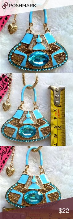 """Betsey Johnson Crystal lady handbag necklace New with tags. 28"""" chain. Next day shipping Betsey Johnson Jewelry Necklaces"""