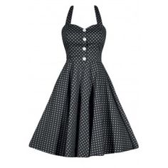 Women's Retro Gal Polka Dot Halter Swing Dress - Black