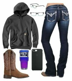 A fashion look from March 2018 featuring Miss Me, cowboy boots and brown glasses. Browse and shop related looks. Cute Cowgirl Outfits, Country Style Outfits, Southern Outfits, Rodeo Outfits, Country Wear, Country Girl Style, Western Outfits, Western Wear, Fall Outfits