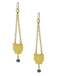 Large Princessa Earrings | etched brass and sodalite | Drew Curtright | drewcurtrightdesigns.com