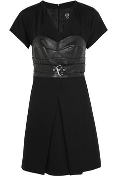 McQ Alexander McQueen Leather Paneled Mini Dress