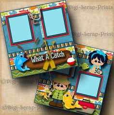WHAT-A-CATCH-fishing-2-premade-scrapbook-pages-paper-piecing-layout-BY-DIGISCRAP