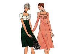 1970s Empire Dress Pattern Midi Length Square by PrettyPatternShop