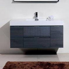 "Wade Logan Tenafly 48"" Single Wall Mount Modern Bathroom Vanity Set Base Finish: Gray Oak"
