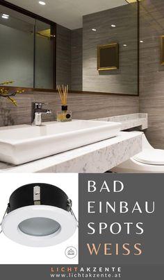 Diese Einbauleuchte mit runden Gehäuse in Weiß und satinierten Glas ist ideal für´s Badezimmer oder als Beleuchtung für die überdachte Terrasse. Der Einbauspot mit IP44 Schutz ist gegen Spritzwasser geschützt. Der Spot ist für Innenbereiche und Aussenbereiche geeignet  wie z.B. WC, Bad, Diele, Flur, Küche, überdachte Terrasse..// #einbaustrahler weiss #lampen und leuchten #beleuchtung #lichtakzente Bathroom Lighting, Mirror, Furniture, Home Decor, Design, Bathroom Small, Bathroom Interior, Ceiling Lights, Bathroom Light Fittings