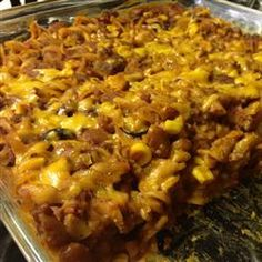 Throw Together Mexican Casserole- Ground beef, olives, egg noodles, corn, taco sauce and seasoning give this throw together casserole it's South-of-the-border flavor- ground beef, can corn, chunky salsa, sliced black olives, egg noodles, can kidney beans or black beans, taco sauce, pkg taco seasoning, tomato sauce, optional can green chiles Allrecipes.com