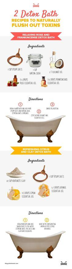 2 Detox Bath Recipes to flush out toxins in a natural way - Cleanse Detox Flush Ideas Detox Bath Recipe, Bath Detox, Detox Bath For Colds, Detox Cleanse For Weight Loss, Body Detox Cleanse, Health Cleanse, Skin Detox, Liver Detox, Smoothie Detox