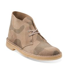 Desert Boot-Men in Stone Camo Suede - Mens Boots from Clarks