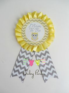 Mom To Be Corsage , Blue pink yellow grey , chevron baby shower , owl baby shower , mom to be badge