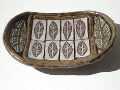 hand built leaf ceramic pottery dish by VickieDumas on Etsy, $26.00