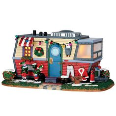 Coventry Cove by Lemax Christmas Village Building, Santa  Lane Trailer.