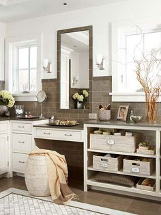 More storage in a small bathroom is always a win! Find ways to keep cleaning supplies inside the bathroom to tackle germs regularly, maximize the use of the back of cabinet doors, add extra shelving above the toilet, repurpose ladders, and more! You'll be surprised by how much you can store in your small bathroom.