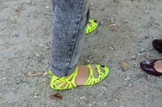 neon sandals #shoes