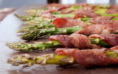 More Phase 2 snacks! Roasted Bacon-Wrapped Asparagus -- soooo tasty. Get the recipe from our newsletter.