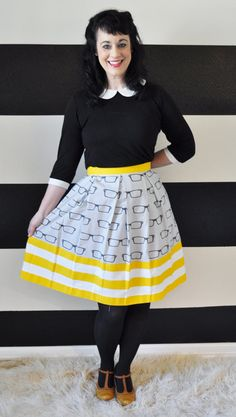 Grey skirt with Nerd glasses and yellow and white stripes made to your measurements