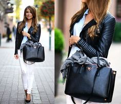 white jeans with baby blue shirt and black leather