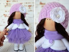 Tilda doll Interior doll Home doll Art doll handmade violet color Textile doll Soft doll Fabric doll Cloth doll by Master Olga Sechko