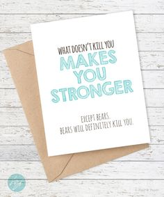 Funny card, Friend card, How to say I care about you, Thoughtful card, Show support card
