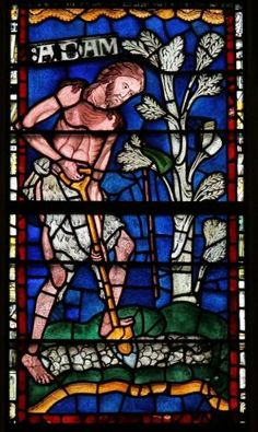 Canterbury Cathedral - Adam Delving (digging) - One of the original windows in the cathedral, circa 1176