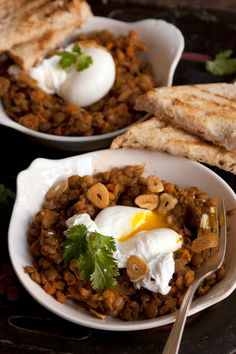 Curried Lentils with Poached Eggs  Recipe from Chef April Bloomfield.