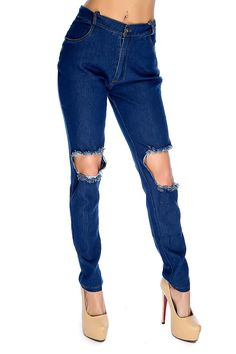These jeans are perfect with your favorite top! Featuring distressed, dark wash, belt loops, pockets, button fly closure, followed by a fitted wear. 100% Cotton.